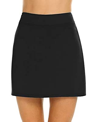 Ekouaer Women's Skorts Pleated Cute Skirts with Pocket Solid Color Sports Shorts (Black, Large)