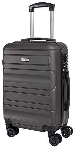 CABIN GO MAX 5515 Valigia Trolley ABS, bagaglio a mano 55x37x20, Valigia rigida, guscio duro e antigraffio con 8 ruote, Ideale a bordo di Ryanair, Alitalia, Air Italy, easyJet, Lufthansa GRIGIO