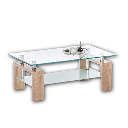 Stella MANGO II Couchtisch Glas in Eiche Sonoma Optik - geräumiger Glastisch mit Glasblage für Ihren Wohnbereich - 100 x 46 x 60 cm (B/H/T)