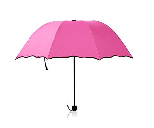 kentop Femme Pliable Parasol parapluie pluie parapluie Revêtement en vinyle coupe-vent, Rot, 90×51cm