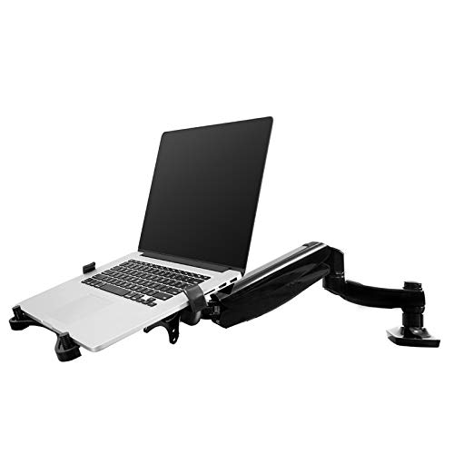 FLEXIMOUNTS 2-in-1 Monitor Arm Laptop Mount Stand Swivel Gas Spring LCD Arm Height Adjustable Desk Mounts for 10''-24'' Monitor/ 11-17.3 inches Notebook