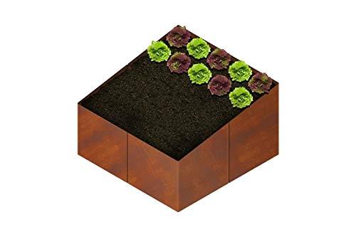 EllasDekokrempel Hochbeet Beet Gartenbeet aus Metall Cortenstahl Frühbeet – Hochbeet Bausatz