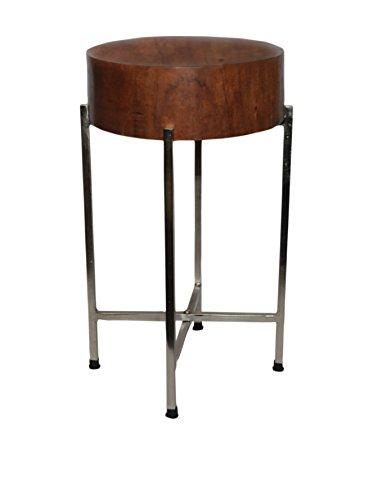 Foreign Affairs Home Decor Sura Tisch mit zusammenklappbarem, silberfarbenem Sockel aus Mangoholz