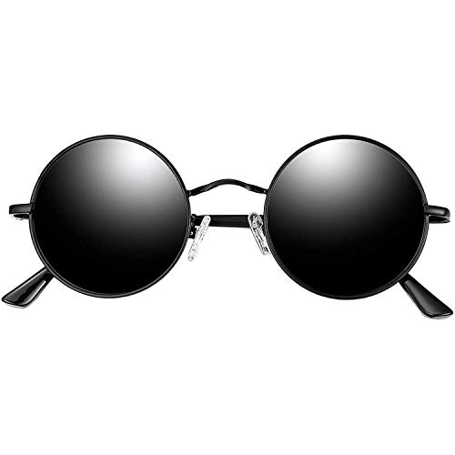 Joopin Redondas Gafas de sol Polarizadas Retro Vintage John Lennon Círculo Metálico Hippie Steampunk para Hombres y Mujeres Spring Bisagra Negro