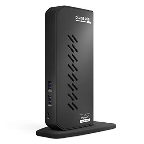 Plugable USB 3.0 and USB-C Universal Laptop Docking Station for Windows and Mac (Dual Video HDMI, Gigabit Ethernet, Audio, 6 USB Ports)