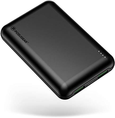 POSUGEAR Powerbank 20000mAh Quick Charge 3.0, Powerbank USB C PD 22.5W mit 3 Ausgängen Kompatibel mit Handy, Tablet, Laptop (Zwei Kabel-Type C & Micro)