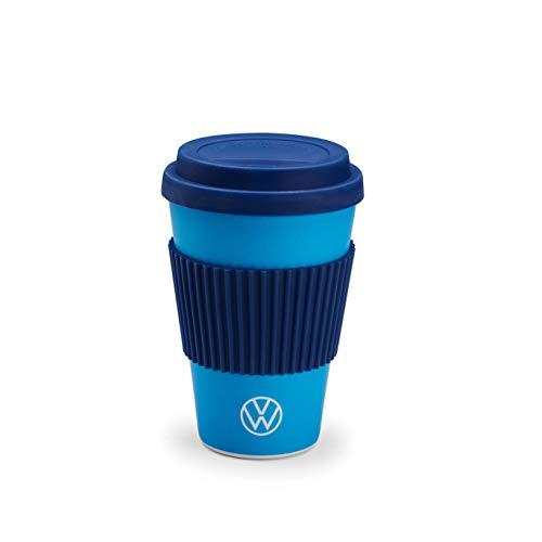 Volkswagen Vaso para bebidas con tapa y mango, color azul claro y azul oscuro, 475 ml, 475 ml