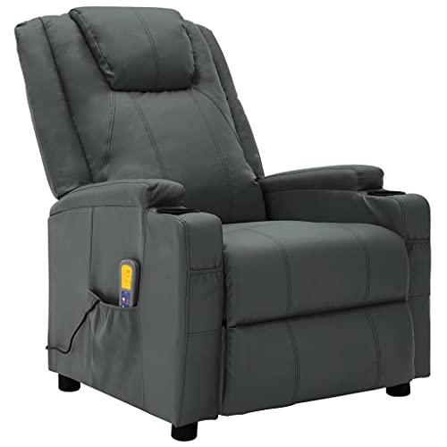vidaXL Fauteuil de Massage Inclinable Fauteuil de Relaxation Electrique Salon Salle de Séjour Intérieur Inclinaison Chauffage Anthracite Similicuir