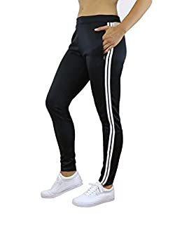 Galaxy by Harvic Ladies Soccer Athletic Training Sweat Track Pants Black/White