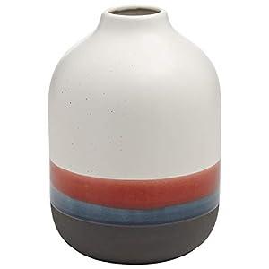 """Silk Flower Arrangements Amazon Brand – Rivet Westline Modern Indoor Outdoor Hand-Painted Stoneware Flower Vase, 9.5""""H, Red White Blue Black"""