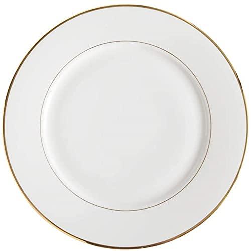 CHANGAN Placas de Cena de Mr.Kkkk Placas de Cena Blanca Platos de Borde de Oro Plato de Almuerzo Placa de vajilla de Porcelana Plata de Fiesta Familia (Color: Blanco B)