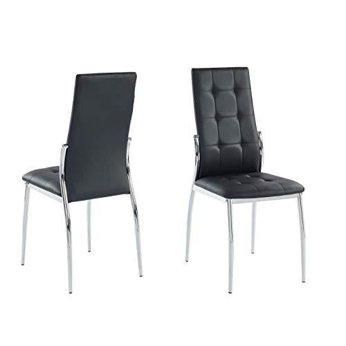 Juego de 2 sillas de comedor ALMA - En metal negro - L 46 x P 50 x H 100 cm