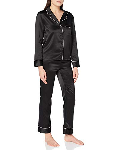 Tommy Hilfiger L/S Pant Set Juego de Pijama, Negro, XS para Mujer
