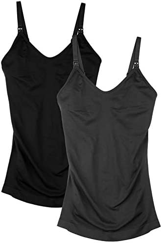 Womens Nursing Tank Tops for Breastfeeding with Built in Bra Maternity Camisole 2Pack Color product image