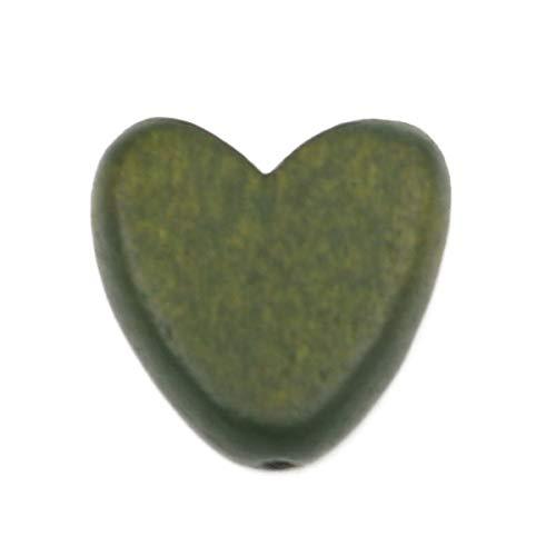 SiAura Material - 20 cuentas de madera de 15 x 15 mm con agujero de 1,8 mm I Forma de corazón plana I para manualidades, enhebrar y pintar.