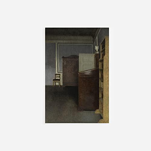 // TPCK // Vilhelm Hammershoi - Póster con estantería y escritorio (1905), tamaño A4 (21 x 29,7 cm)