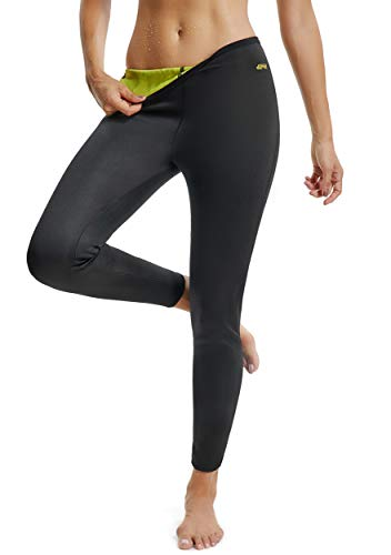 FITTOO Pantaloni Sauna Dimagranti Donna Leggins Sportivi Fitness Snellente Sauna Pants Shapers Neoprene Termico Hot Pantaloni Pantaloncino, L, Nero