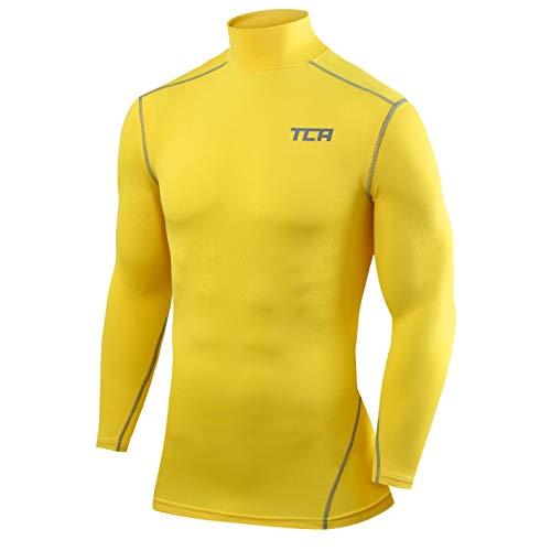 TCA Pro Performance Herren & Jungen Funktionsshirt/Kompressionsshirt mit Stehkragen - Langarm - Gelb, 140(8-10 Jahre)