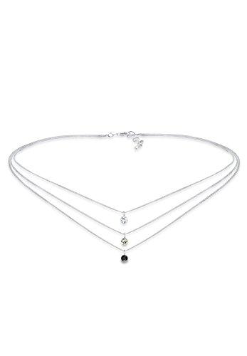 Elli Damen-Kette mit Anhänger Choker 925 Silber Kristall Rundschliff 36 cm-0108730916_36