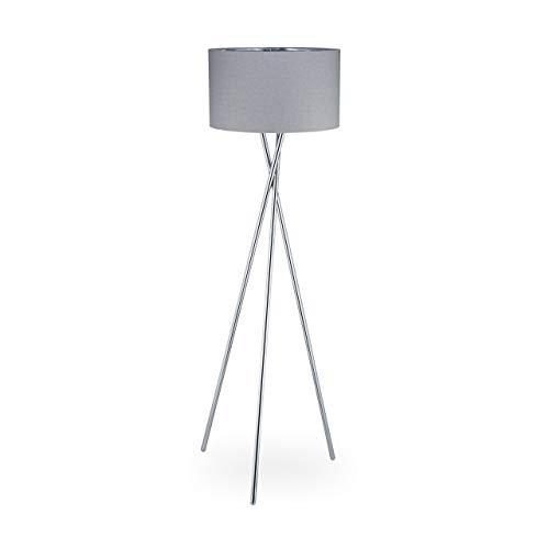 Relaxdays Dreibein Lampe, Dekolampe mit Schalter, E27, indirektes Licht, Wohnzimmer, Stehlampe HBT: 150x51x51 cm, grau