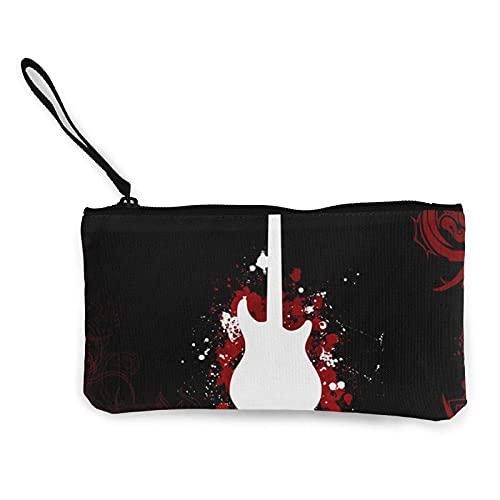 JOWV Damen Clutches Gitarre In Red_WPS Multifunktionale Brieftasche Reißverschlusstasche Mode Make-up Tasche Reise Leinwand Münzgeldbörse Schlüsselhalter 8.5 X 4.5