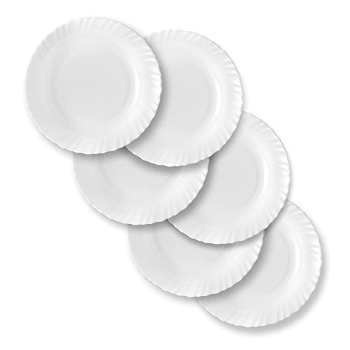 Larah by BOROSIL Opal Glass Full Plate Set, 11-inch ,White - Set of 6