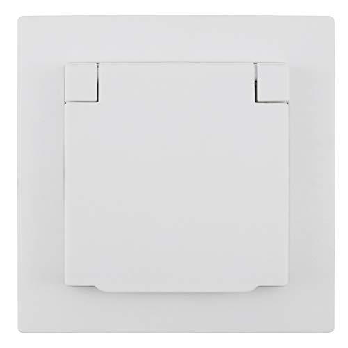 MC POWER - Schutzkontakt-Steckdose IP44 | FLAIR | 250V~/16A, UP, Klappdeckel, weiß, matt