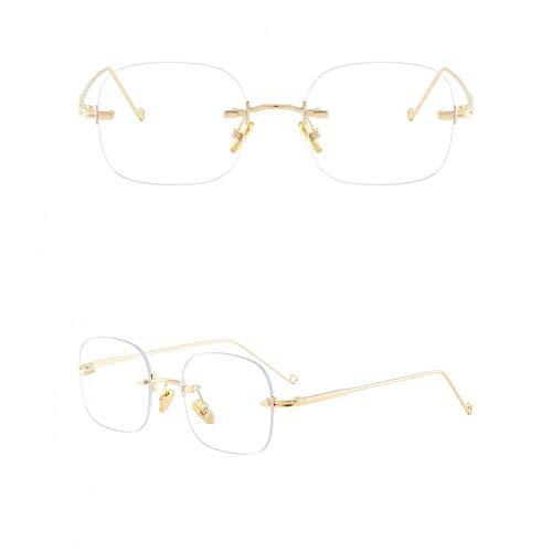 ZZOW Gafas De Sol Sin Montura Rectangulares Pequeñas De Moda para Mujer, Lentes De Océano Transparentes Vintage, Gafas Anti-BLU-Ray, Gafas De Sol Ultraligeras para Hombre
