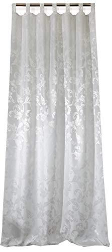 NOVUM fix Vorhang mit Schlaufen * zusätzliches Kräuselband * Dekoschal Jacquard-Gewebe 140x245 cm (BxH) * Natur-Weiß