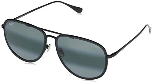 Maui Jim Fair Winds Aviator - Gafas de sol, negro (Negro brillante con borde negro mate/gris neutro polarizado), Medium