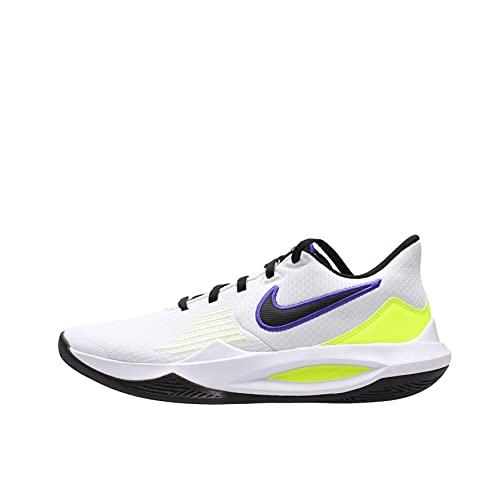 Nike Precision 5 - Zapatillas de baloncesto para hombre, Unisex adulto, CW3403-100, Weiß Schwarz Neon Gelb Blau, 46 EU