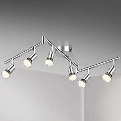 Defurhome LED Deckenleuchte Drehbar, 6 Flammig LED Strahler Deckenlampe Spot,Modern Deckenstrahler (Weißes Chrom) für Küche, Wohnzimmer, Schlafzimmer, inkl. 6 x 3.5W GU10 LED Lampen (380LM, warmweiß)