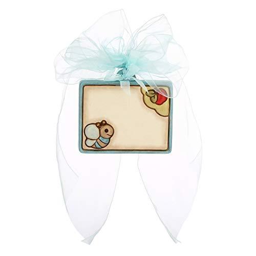THUN ® - Coccarda Nascita - Ceramica - con Ape - Personalizzabile -10,8 x 9,7 h cm