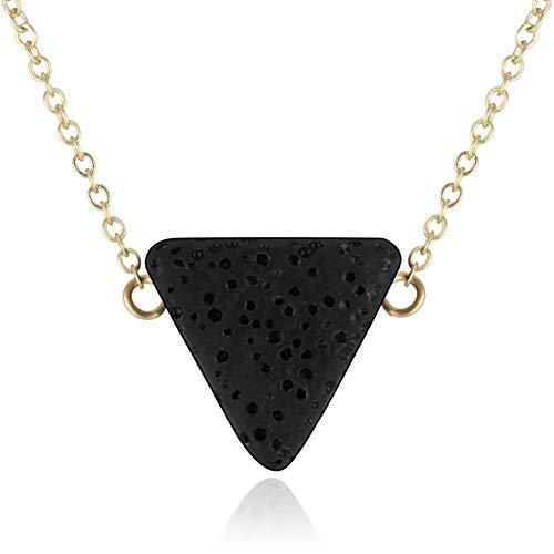 YUNGYE Pendant Lava Natural de la Roca de Piedra Esencial de Aromatherapy Difusor de Aceite de la Cadena Collar de la joyería del Aroma del Collar Pendiente de la Plata del Oro (Metal Color : XL231)