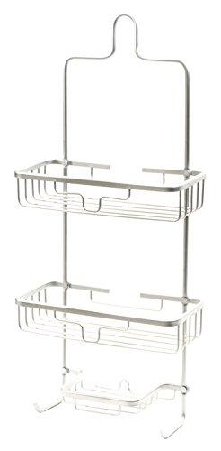Splash Home Aluminum Kohala Bathroom Hanging Head Two Basket Organizers Plus Dish Shower Caddy, 24 x 5 x 11 Inches, Chrome