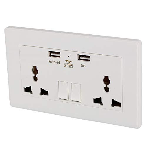 RETYLY International Universal Plug Socket 2.1A Usb Interruptor de Pared Enchufe 3 gujeros Dual Usb Port Power Charger Panel de Salida