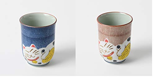 Taza de té japonesa Hakusan Yunomi, juego de 2 tazas, importación japonesa, gato de la fortuna Maneki Neko, azul y rosa 369-3 369-4