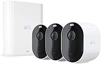 Arlo Pro 3 Spotlight Camera - 3 Camera Security System - Wireless, 2K Video & HDR, Color Night Vision, 2 Way Audio, 160° View, Wire-Free, Works with Alexa, White - VMS4340P