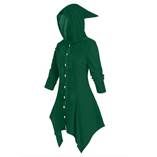 Felpe Donna Felpe Personalizzate Camicetta Alta a Maniche Lunghe con Cappuccio Fashion Plus Size Top Mantello Halloween (L,Verde)