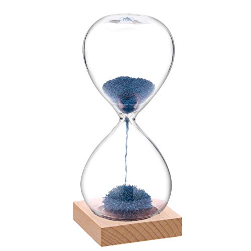 SuLiao Magnetic Hourglass Sand Timer 1 Minute: Large Sand Clock with Blue Magnet Iron Powder & Wood Base, Sand Watch 1 Min, Reloj De Arena, Hand-Blown Hour Glass Sandglass for Office Desk Home Decor