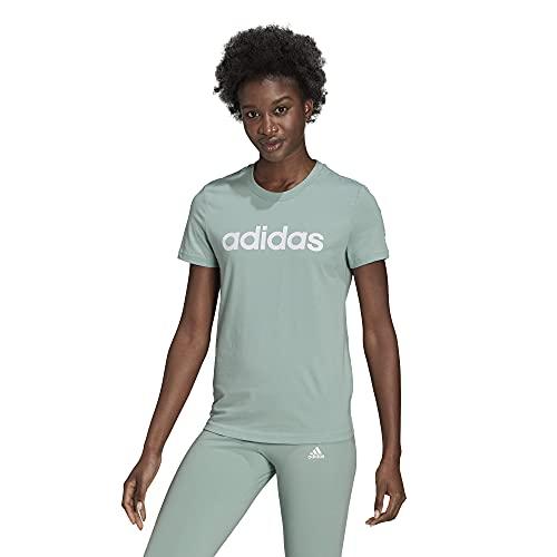 adidas Camiseta Slim Essentials para mujer - 28869, Essentials Slim playera, M, Verde/Blanco