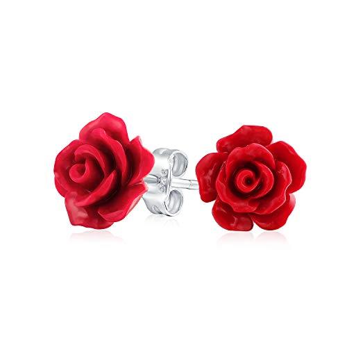 3D Ha Voluto Rosso Rose Fiore Orecchini A Lobo Per Donne Per La Teen Per Madre Placcato Argento Post