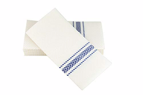 ClassicPoint Dinner Napkins - Blue Bistro Stripe - Decorative & Disposable - Soft, Absorbent & Durable (15.5'x15.5' - Pack of 50)