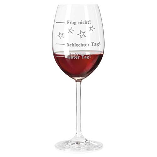 laser-diele Rotweinglas mit Gravur - graviertes Stimmungsglas - Weinglas als lustiges Geschenk (Guter Tag - Schlechter Tag)