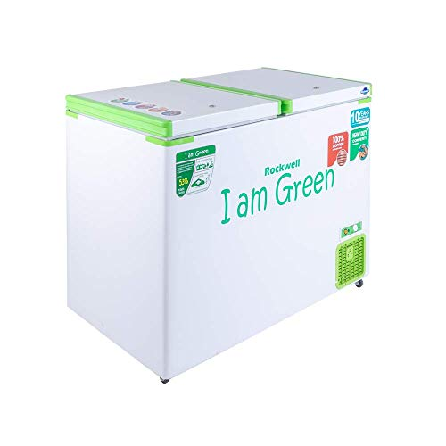 ROCKWELL Copper Cooling Coil, Upto 53% Power Saving, 90mm PUF, 10 years Warranty On Body, Double Door Convertible Green Freezer GFR350DDUC