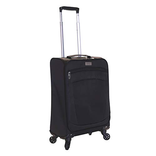 Karabar Cabin Hand Carry-on Luggage Bag Suitcase Ultra Super Lightweight 55 cm 1.8 kg 34 litres 4 Spinner Wheels, Marbella Black