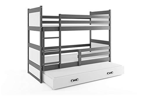 Litera infantil triple (3 camas) 190x90, RICO, color gris, cajón blanco, con somieres y colchones de espuma GRATIS