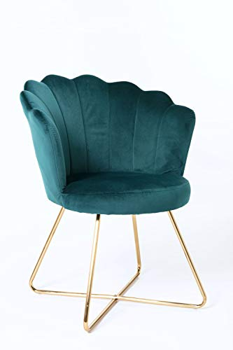 Duhome Sessel aus Stoff Samt Polstersessel Retro Design Polsterstuhl Metallgestell Gold 8057C, Farbe:Petrol, Material:Samt