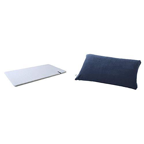 エアウィーヴ ホテル仕様 ホワイト シングル 1-102011-1 & ピローケース ソフトタッチ ネイビー K-P0151-NV-1【セット買い】