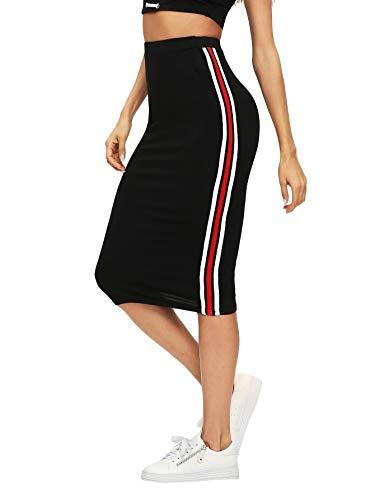 Verdusa Women's Casual Elastic Waist Striped Side Bodycon Pencil Skirt Black M